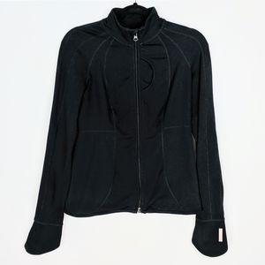 Zella Solid Black Zip Up Jacket Stretch Sweater